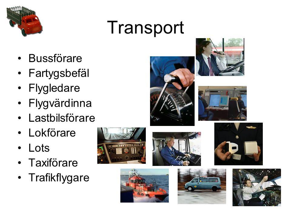 Transport Bussförare Fartygsbefäl Flygledare Flygvärdinna