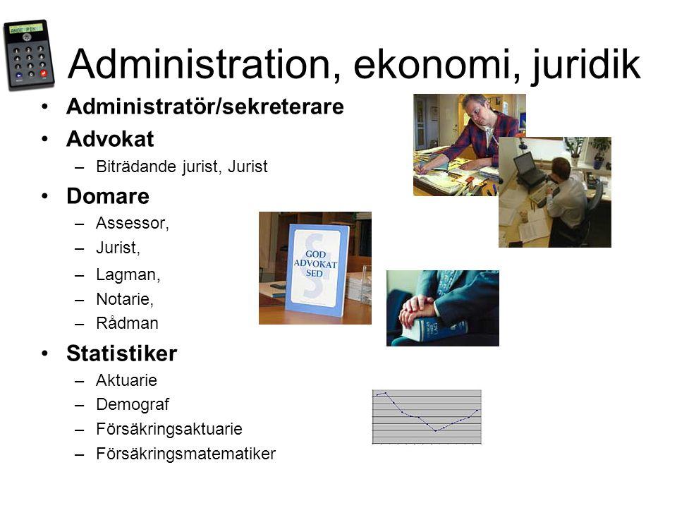 Administration, ekonomi, juridik