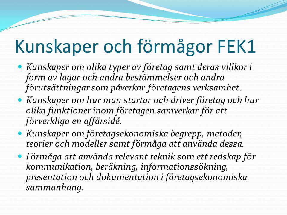 Kunskaper och förmågor FEK1