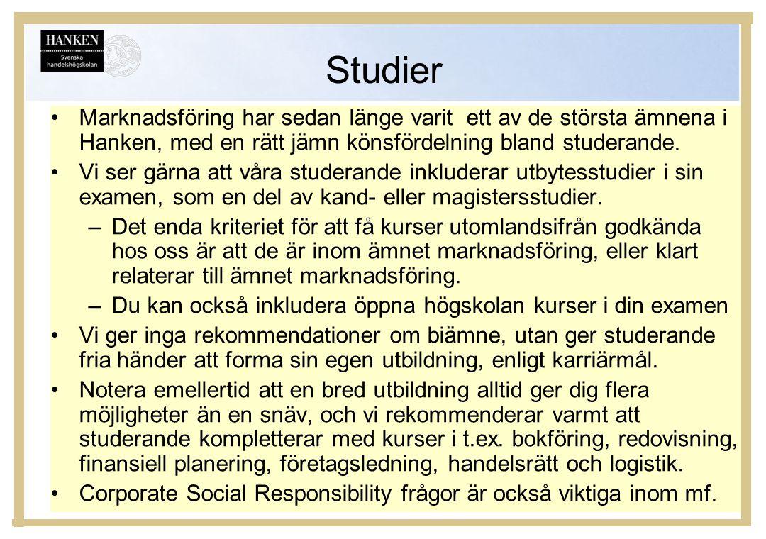 Studier Marknadsföring har sedan länge varit ett av de största ämnena i Hanken, med en rätt jämn könsfördelning bland studerande.
