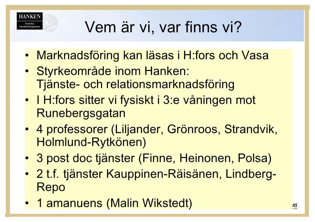 Vem är vi, var finns vi Marknadsföring kan läsas i H:fors och Vasa