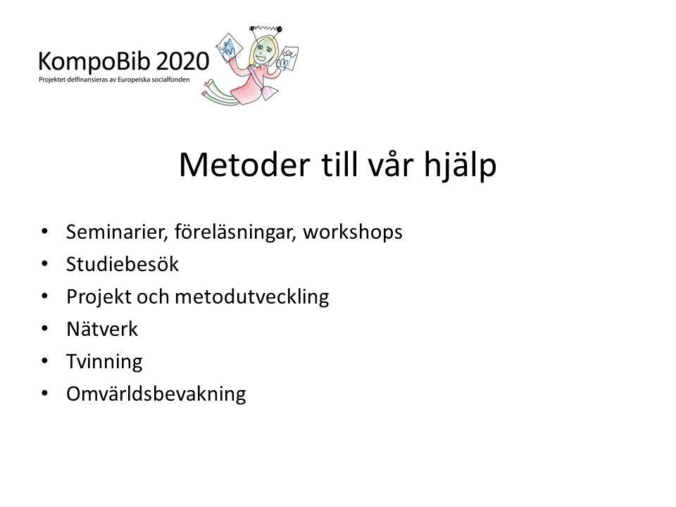 Metoder till vår hjälp Seminarier, föreläsningar, workshops