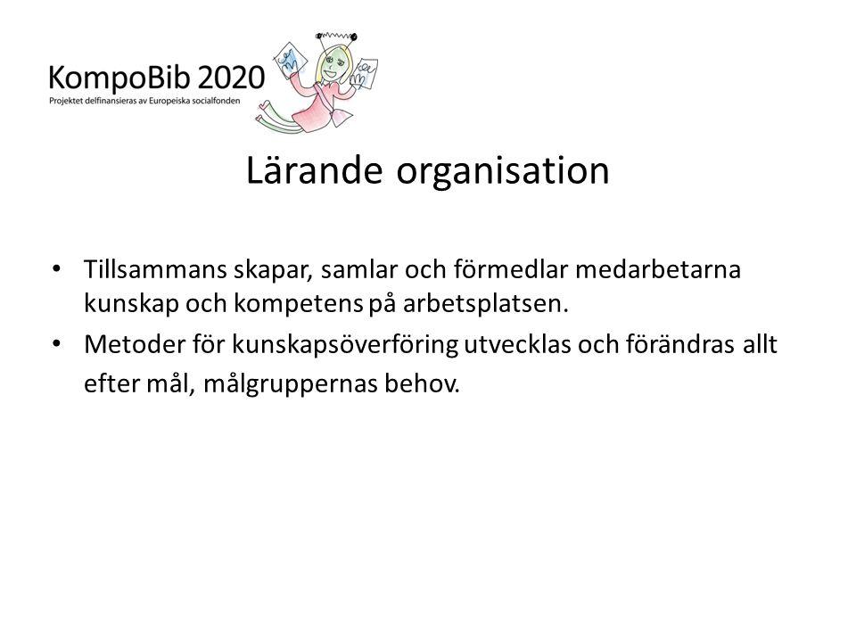 Lärande organisation Tillsammans skapar, samlar och förmedlar medarbetarna kunskap och kompetens på arbetsplatsen.