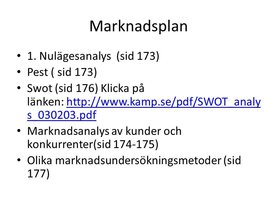 Marknadsplan 1. Nulägesanalys (sid 173) Pest ( sid 173)
