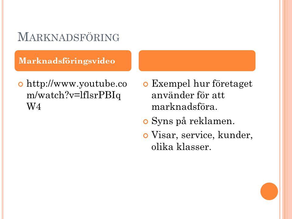 Marknadsföring http://www.youtube.co m/watch v=lflsrPBIq W4