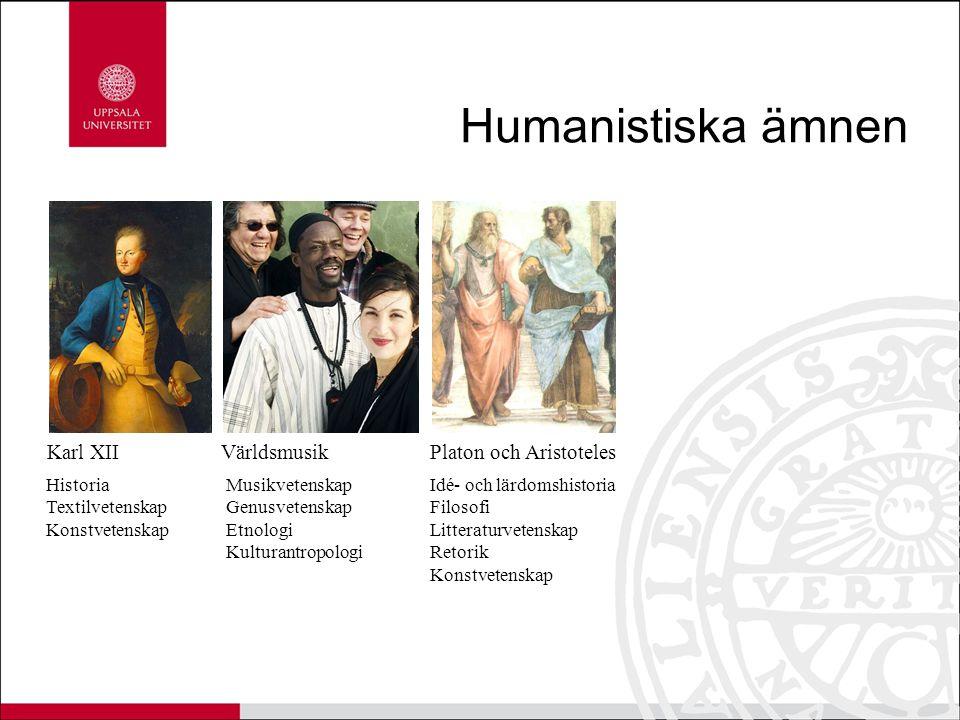 Humanistiska ämnen Karl XII Världsmusik Platon och Aristoteles