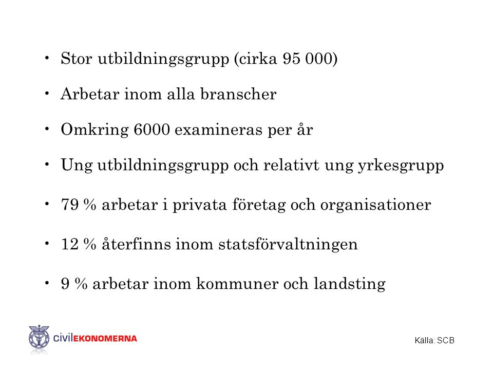 Stor utbildningsgrupp (cirka 95 000) Arbetar inom alla branscher