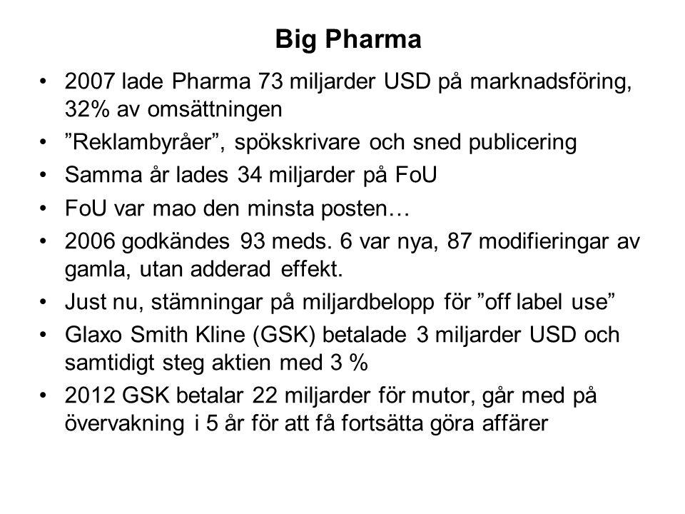 Big Pharma Big. 2007 lade Pharma 73 miljarder USD på marknadsföring, 32% av omsättningen. Reklambyråer , spökskrivare och sned publicering.