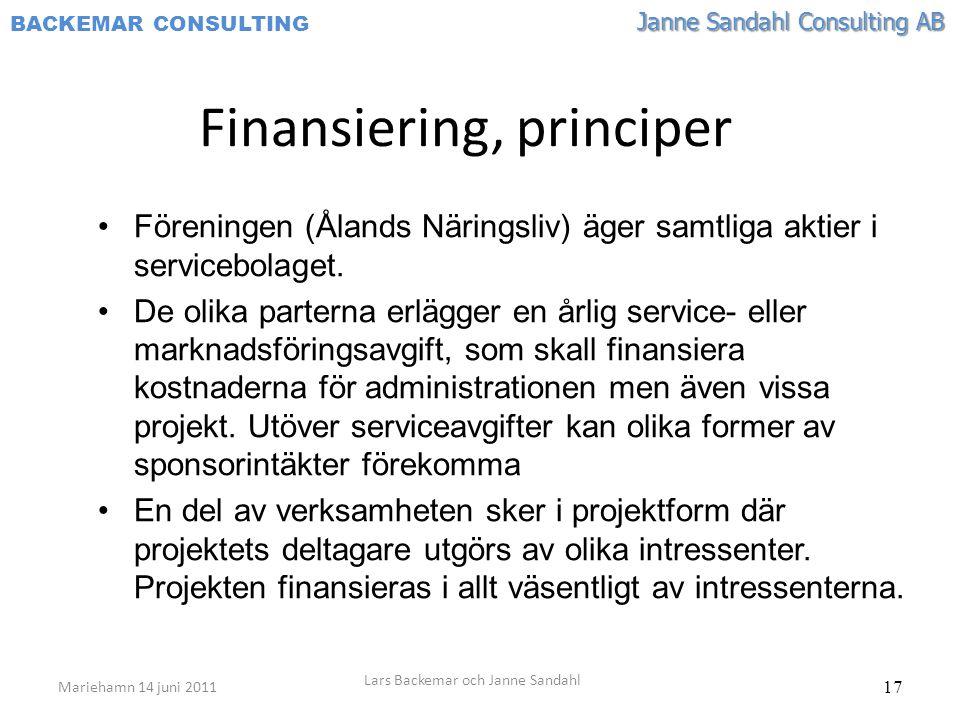 Finansiering, principer