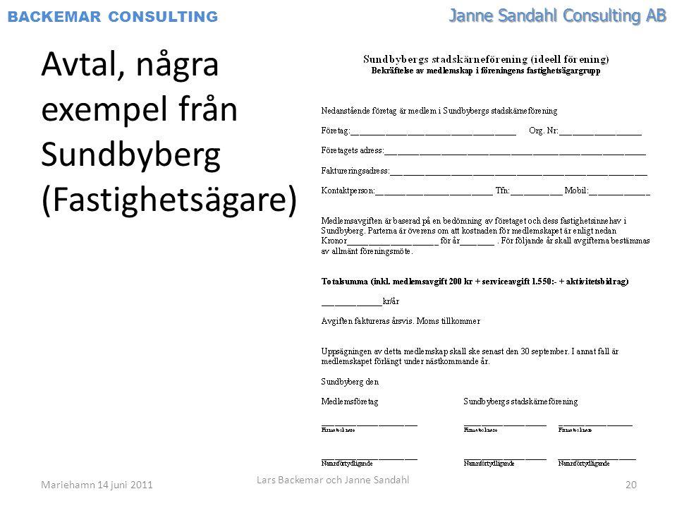 Avtal, några exempel från Sundbyberg (Fastighetsägare)