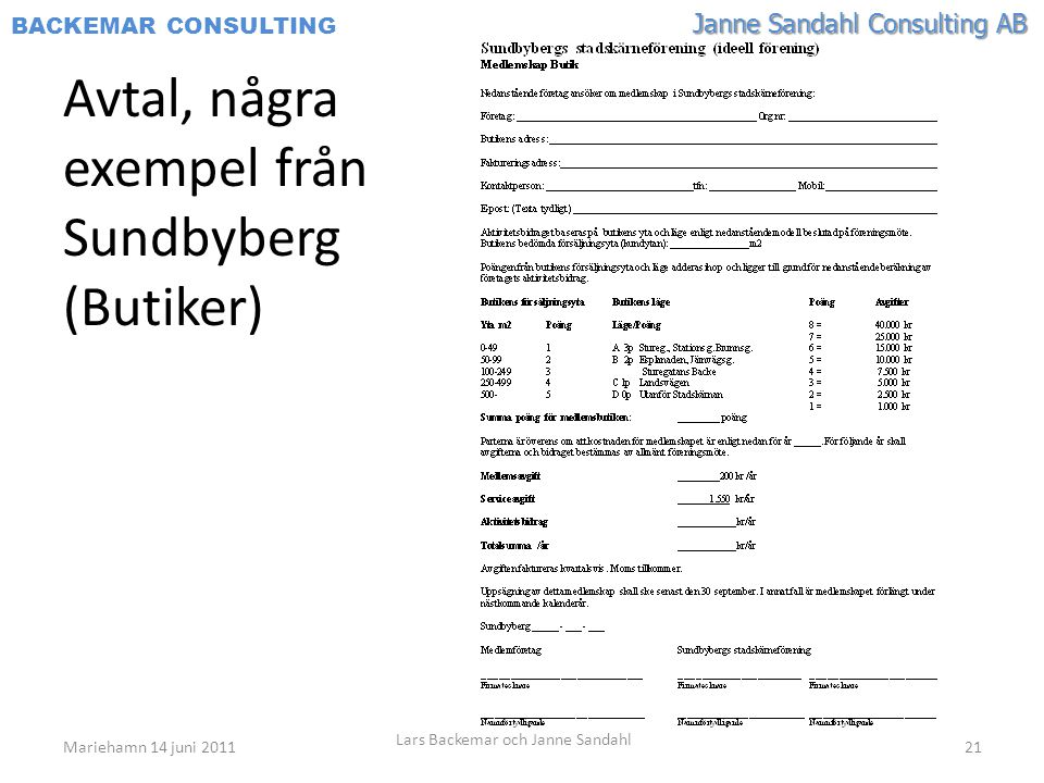 Avtal, några exempel från Sundbyberg (Butiker)