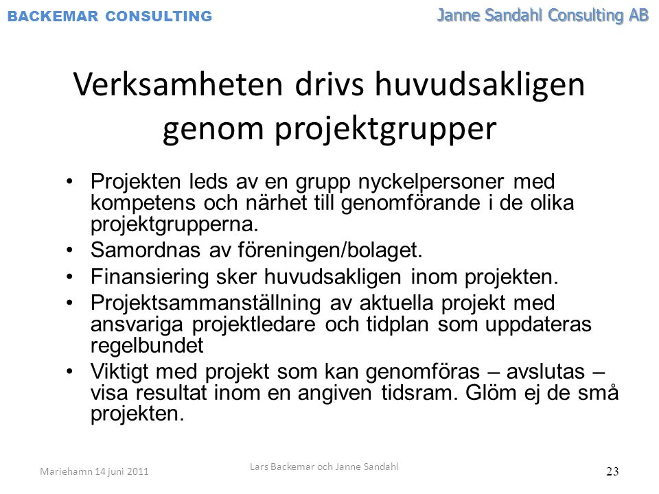Verksamheten drivs huvudsakligen genom projektgrupper