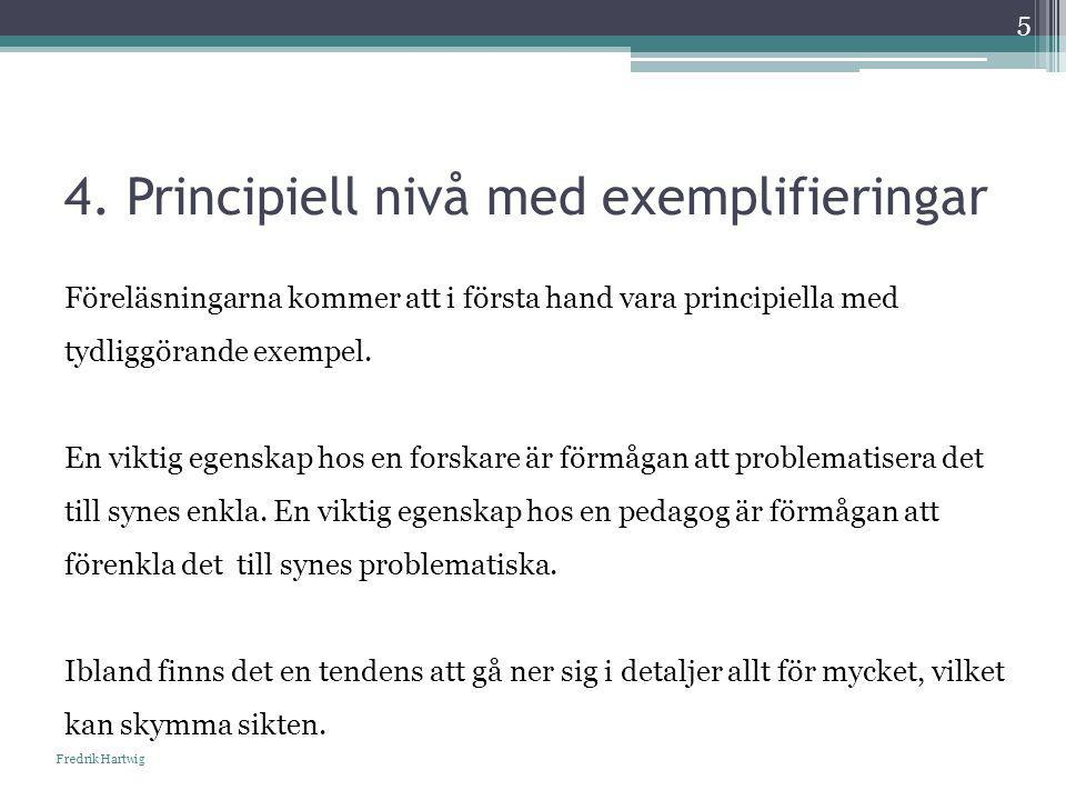 4. Principiell nivå med exemplifieringar