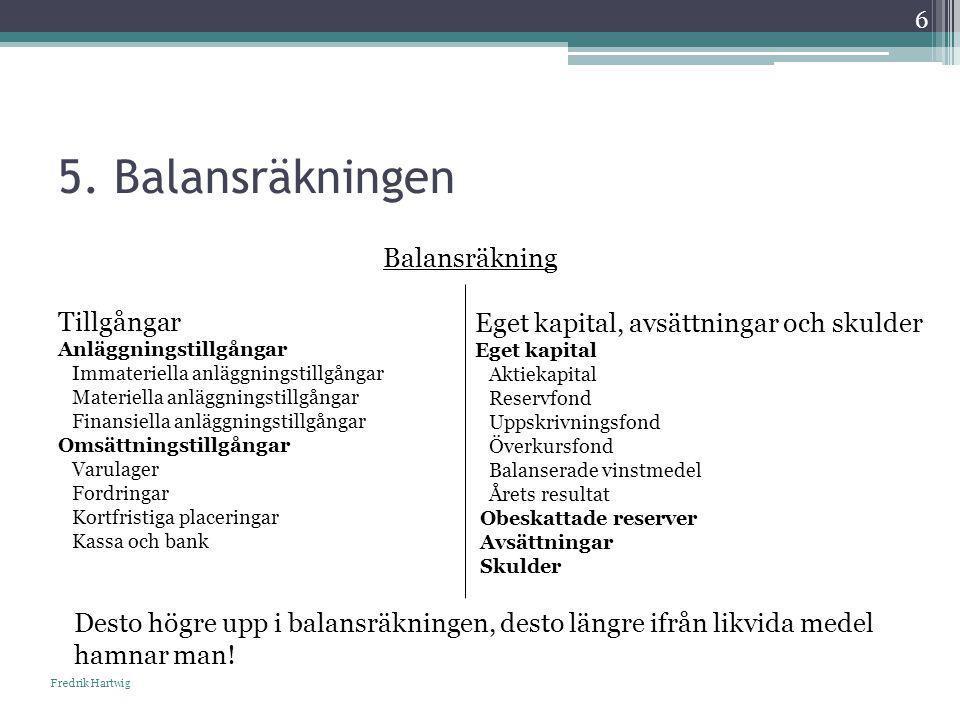5. Balansräkningen Balansräkning Tillgångar