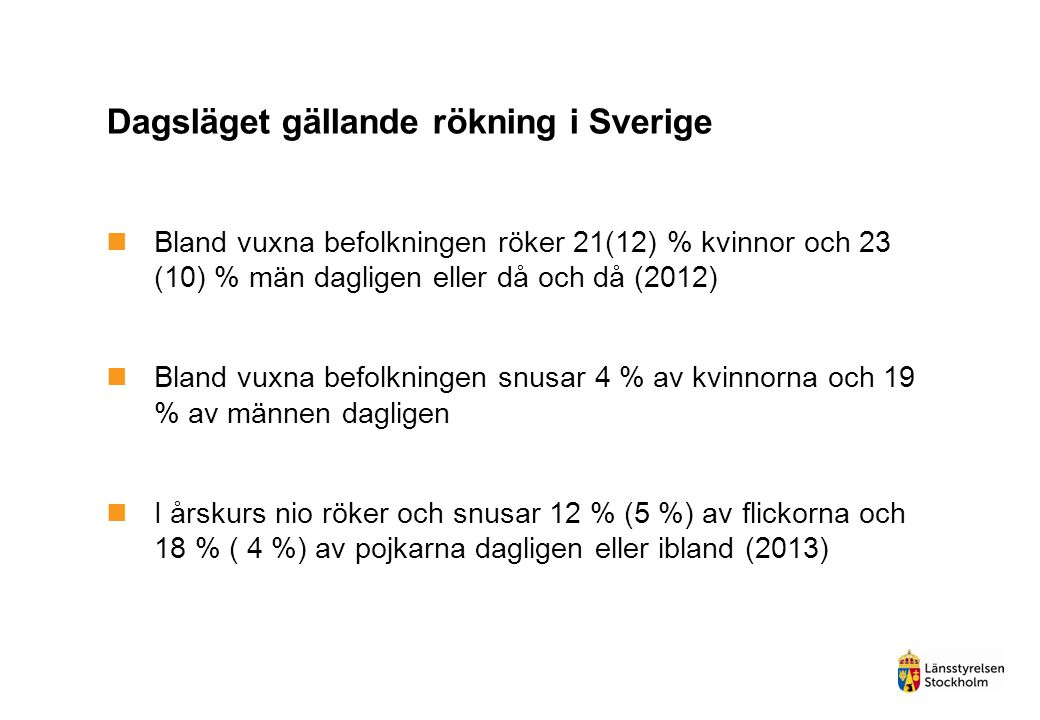 Dagsläget gällande rökning i Sverige