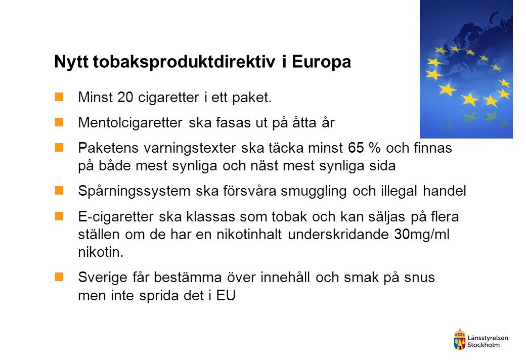 Nytt tobaksproduktdirektiv i Europa