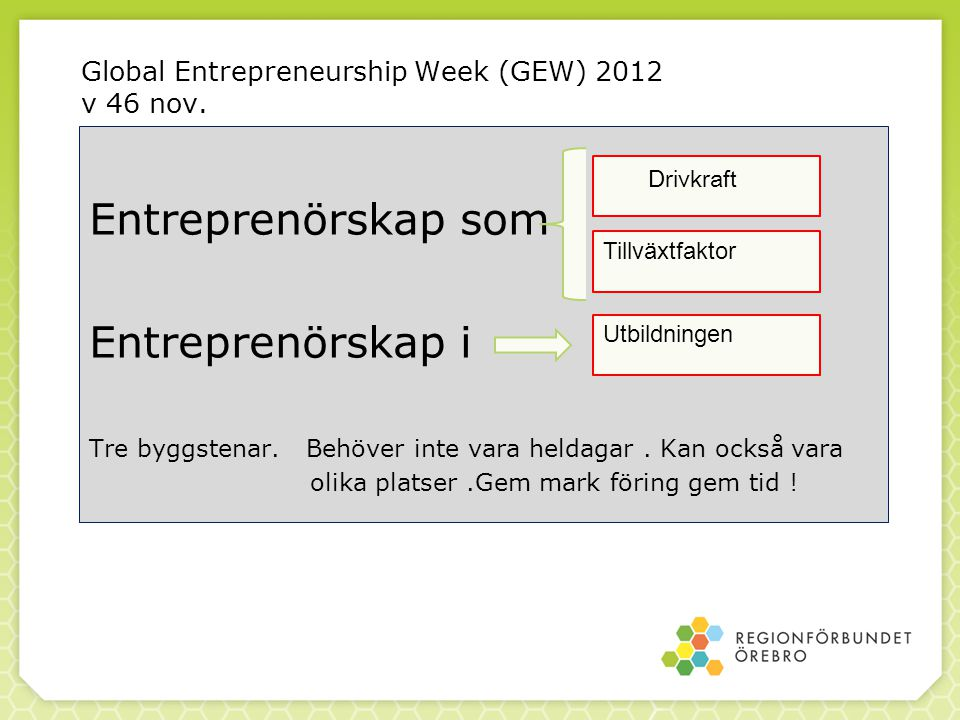 Global Entrepreneurship Week (GEW) 2012 v 46 nov.