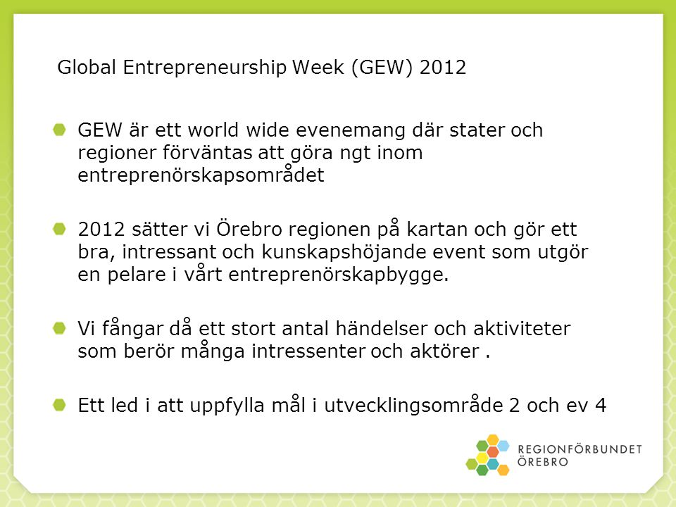 Global Entrepreneurship Week (GEW) 2012