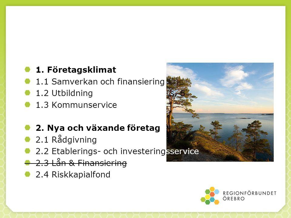 1. Företagsklimat 1.1 Samverkan och finansiering. 1.2 Utbildning s. 6. 1.3 Kommunservice. 2. Nya och växande företag.