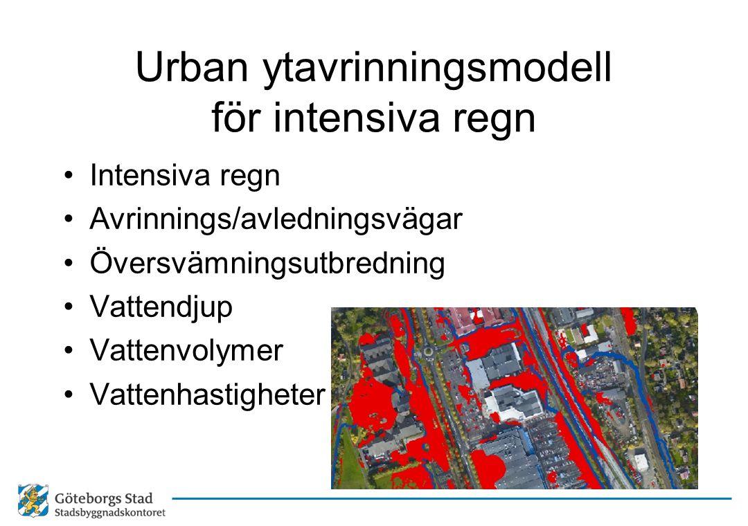 Urban ytavrinningsmodell för intensiva regn
