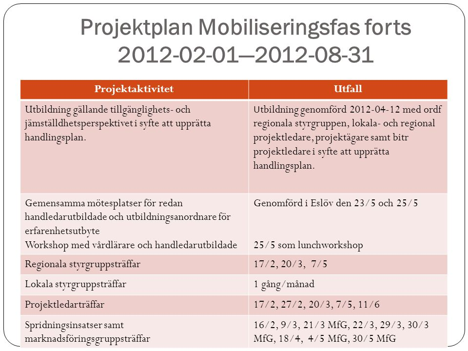 Projektplan Mobiliseringsfas forts 2012-02-01—2012-08-31