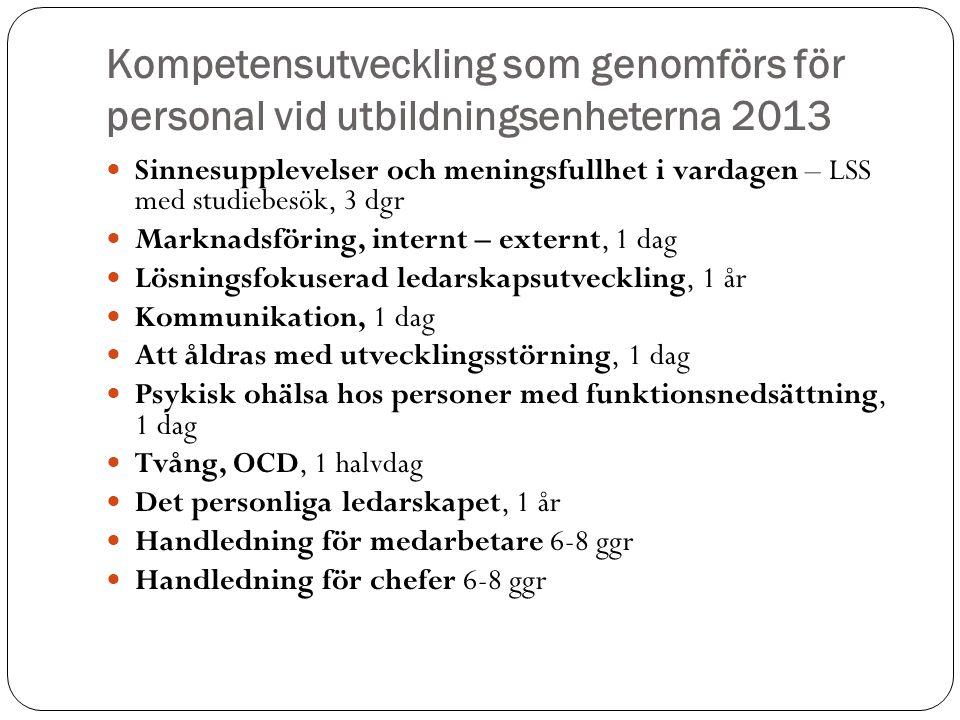 Kompetensutveckling som genomförs för personal vid utbildningsenheterna 2013