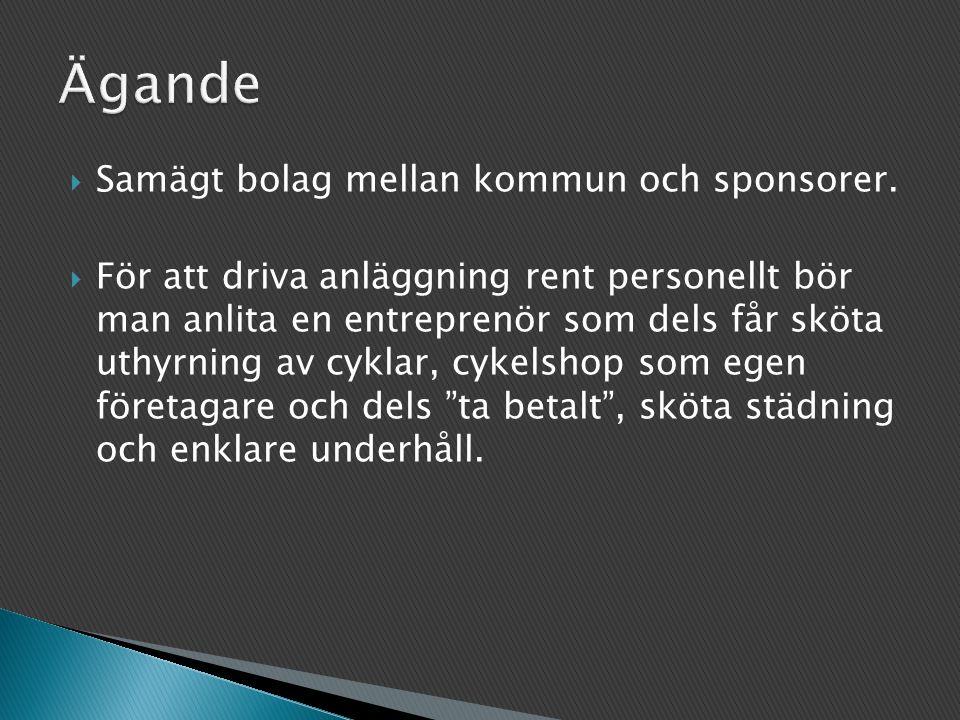 Ägande Samägt bolag mellan kommun och sponsorer.