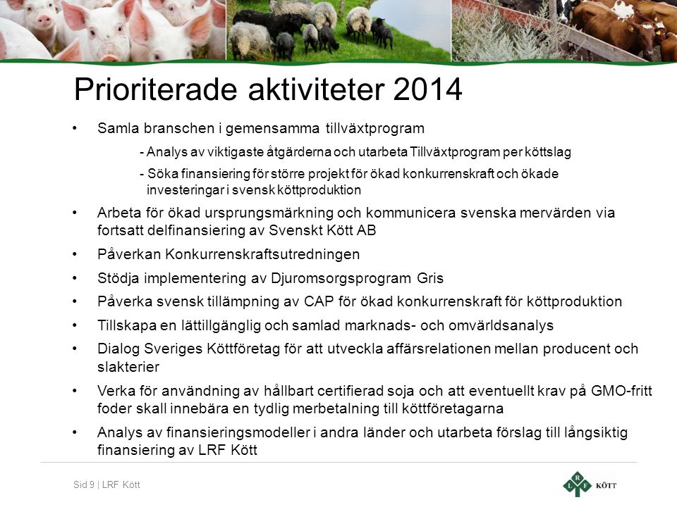 Prioriterade aktiviteter 2014