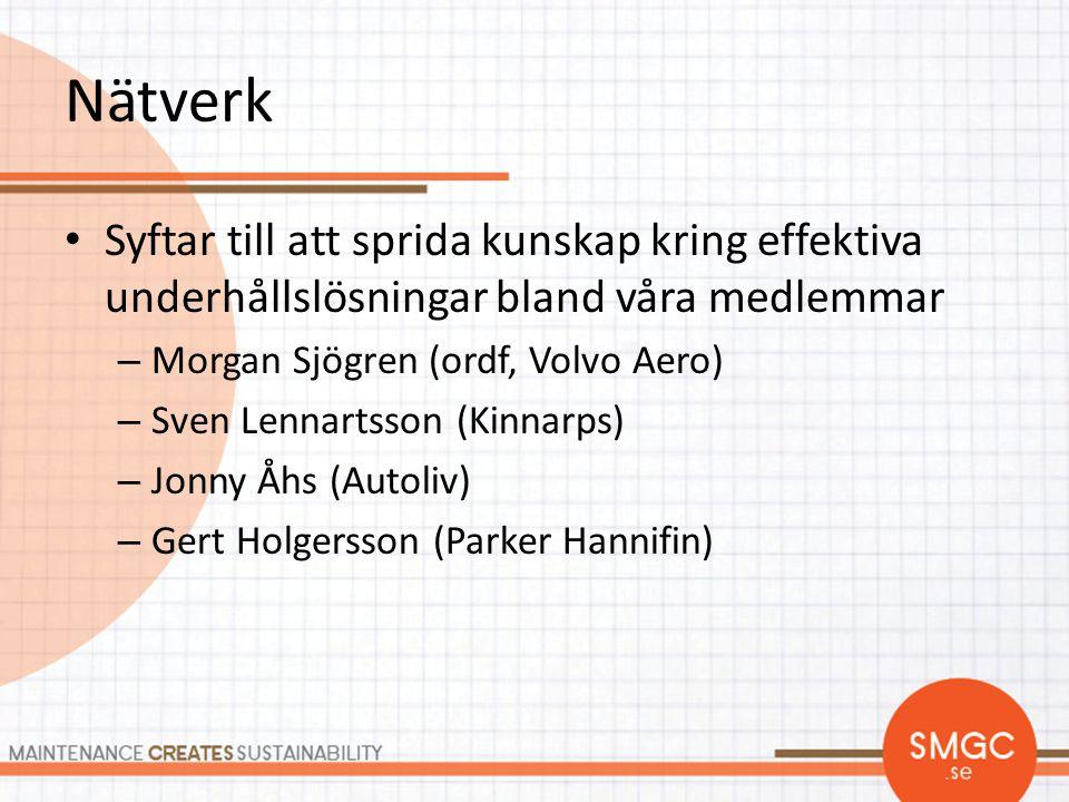 Nätverk Syftar till att sprida kunskap kring effektiva underhållslösningar bland våra medlemmar. Morgan Sjögren (ordf, Volvo Aero)