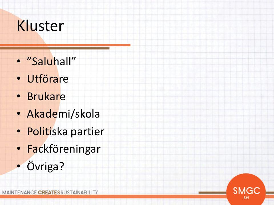 Kluster Saluhall Utförare Brukare Akademi/skola Politiska partier