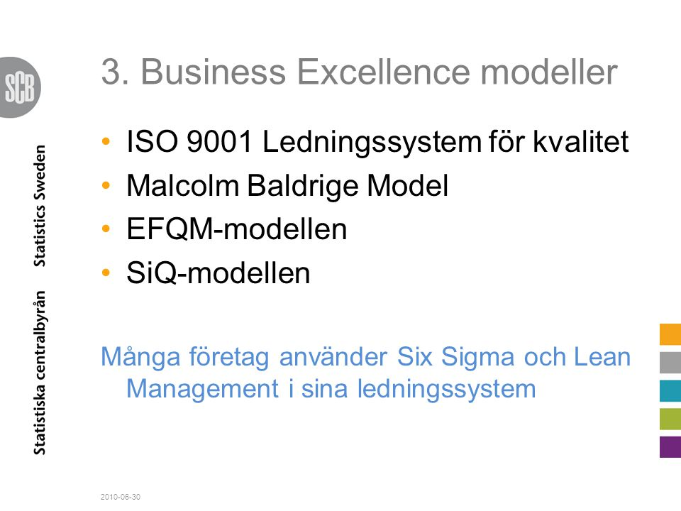 3. Business Excellence modeller