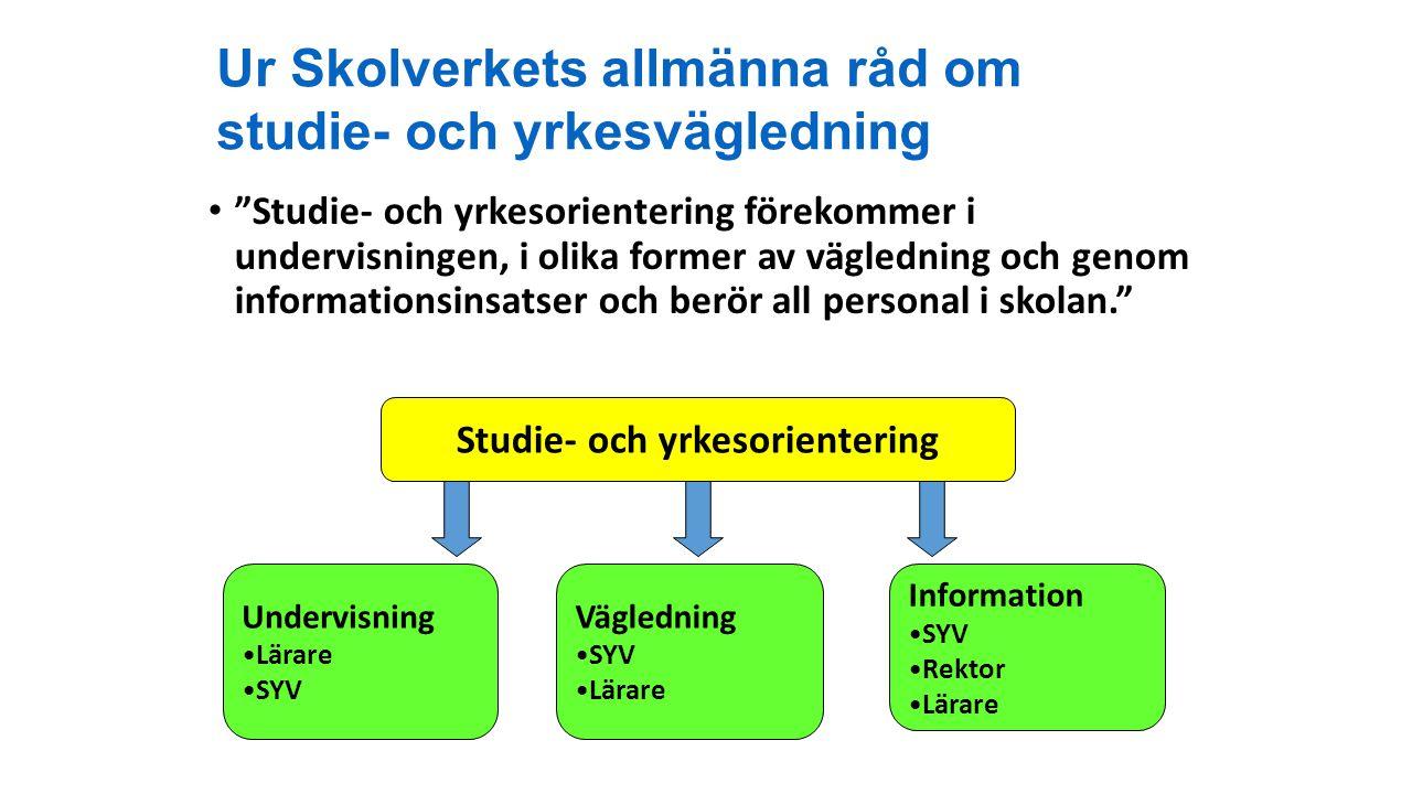 Ur Skolverkets allmänna råd om studie- och yrkesvägledning