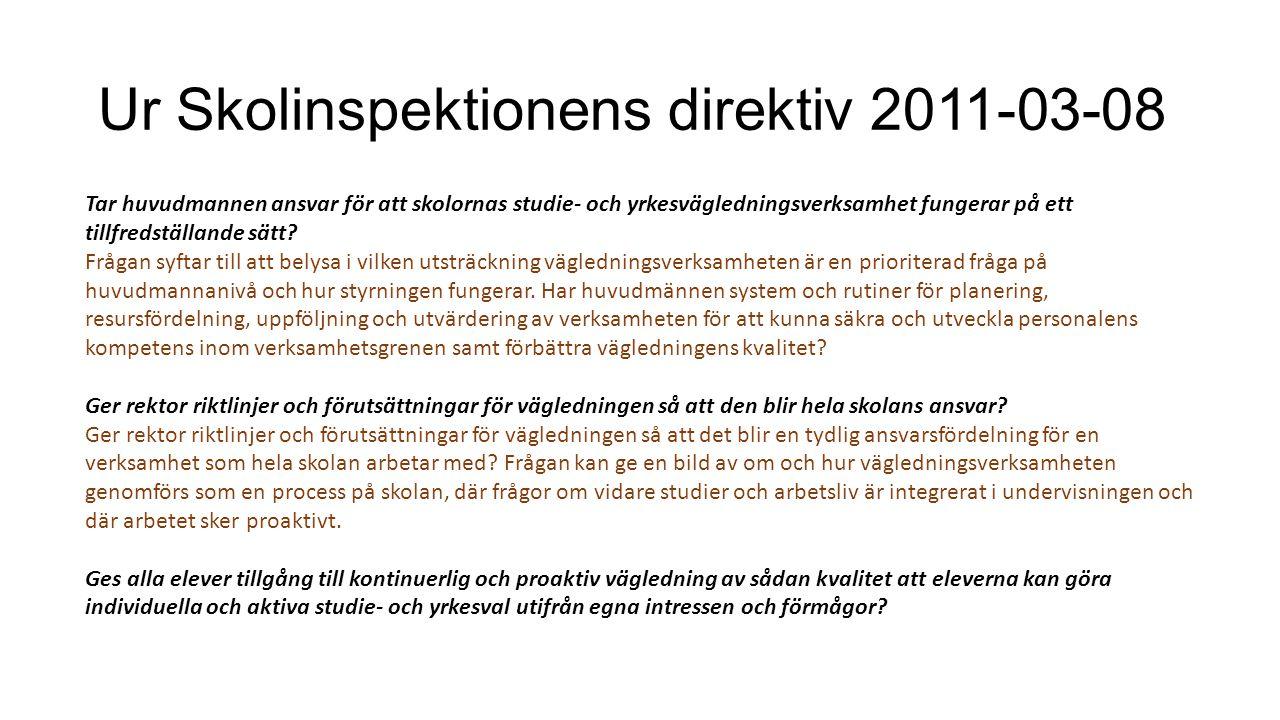 Ur Skolinspektionens direktiv 2011-03-08
