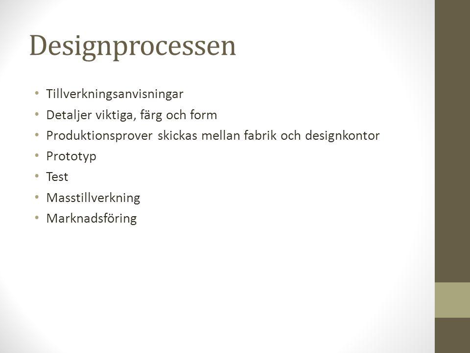 Designprocessen Tillverkningsanvisningar