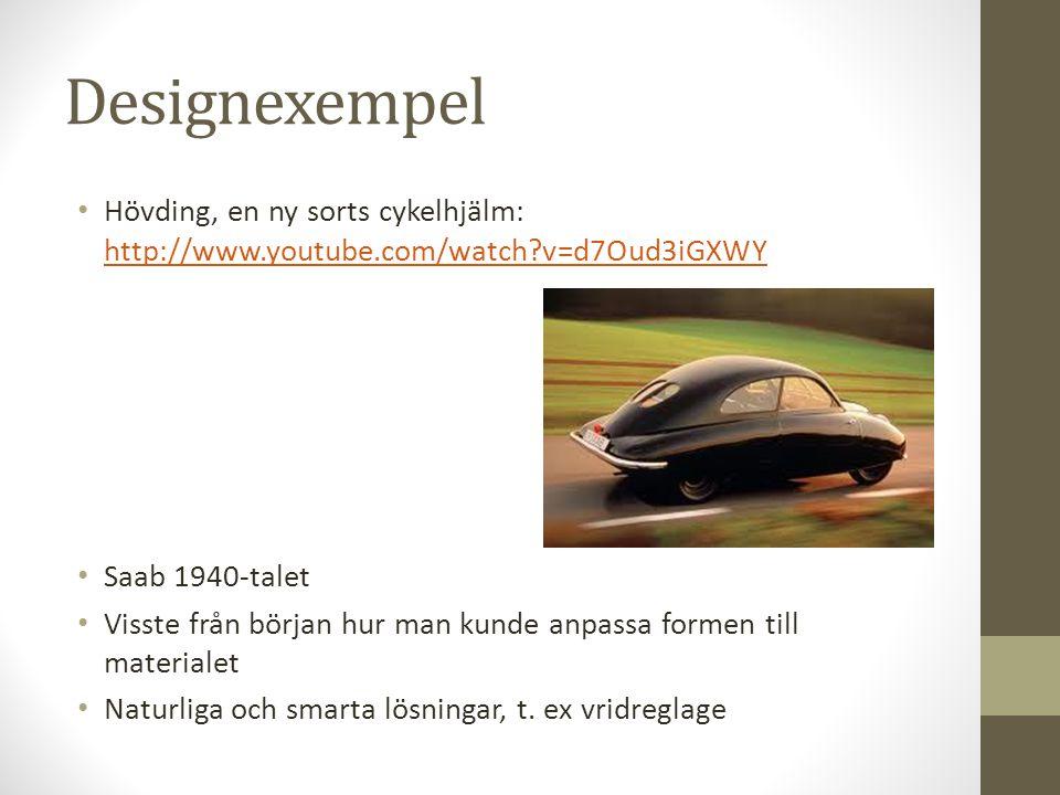 Designexempel Hövding, en ny sorts cykelhjälm: http://www.youtube.com/watch v=d7Oud3iGXWY. Saab 1940-talet.
