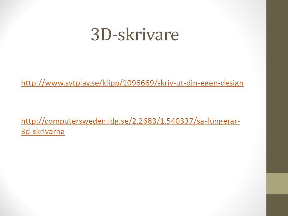 3D-skrivare http://www.svtplay.se/klipp/1096669/skriv-ut-din-egen-design.