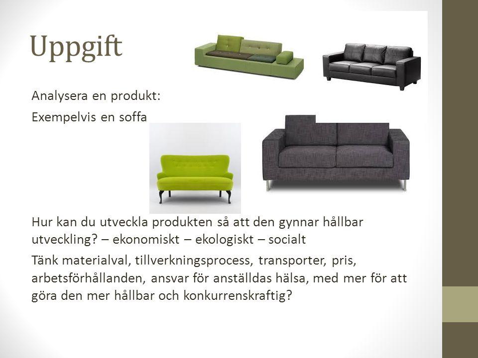 Uppgift Analysera en produkt: Exempelvis en soffa
