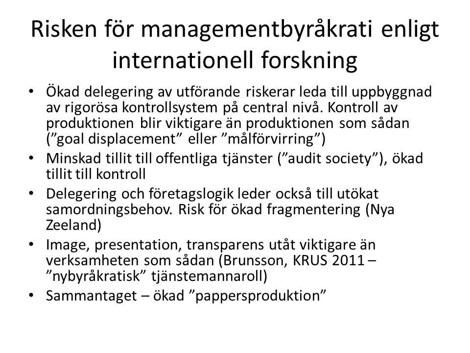 Risken för managementbyråkrati enligt internationell forskning