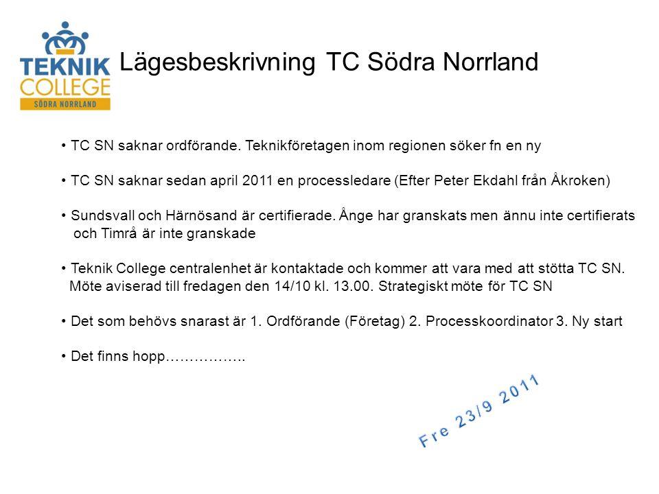 Lägesbeskrivning TC Södra Norrland