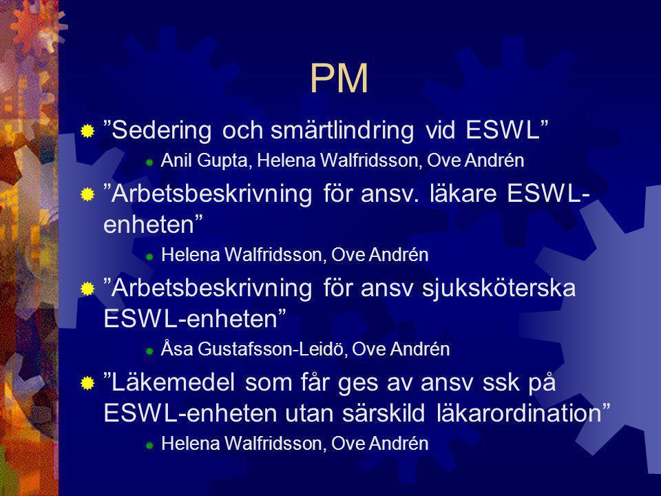 PM Sedering och smärtlindring vid ESWL
