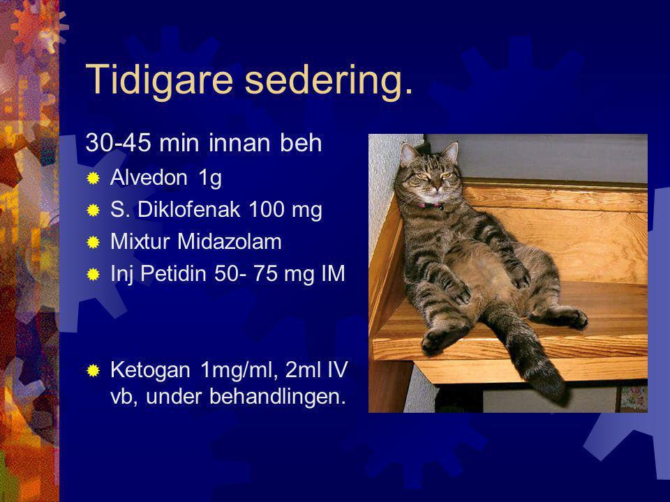 Tidigare sedering. 30-45 min innan beh Alvedon 1g S. Diklofenak 100 mg