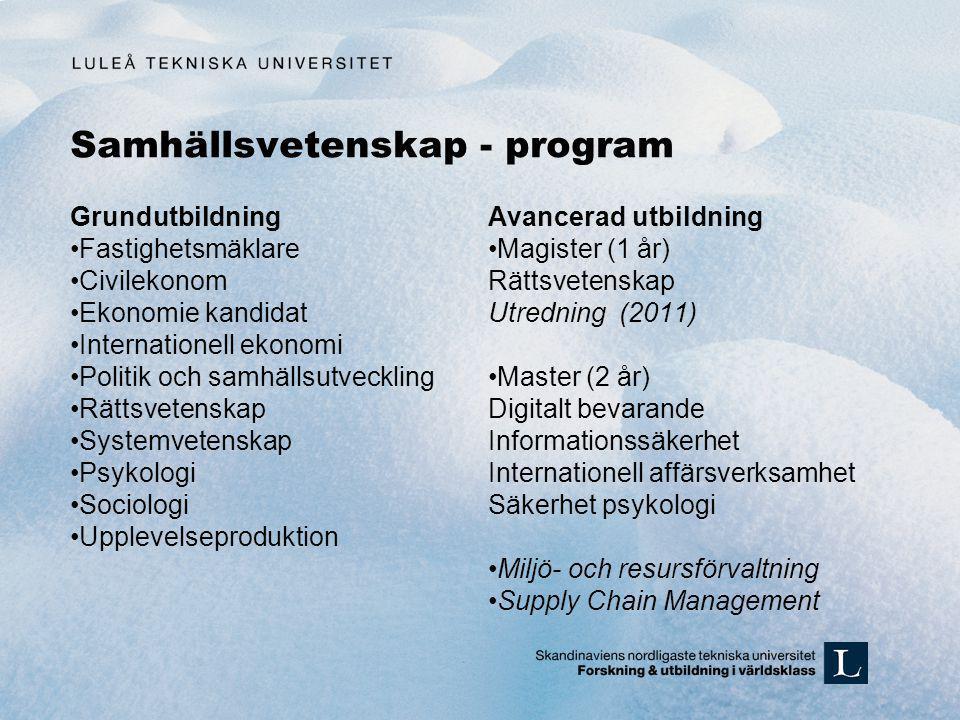 Samhällsvetenskap - program
