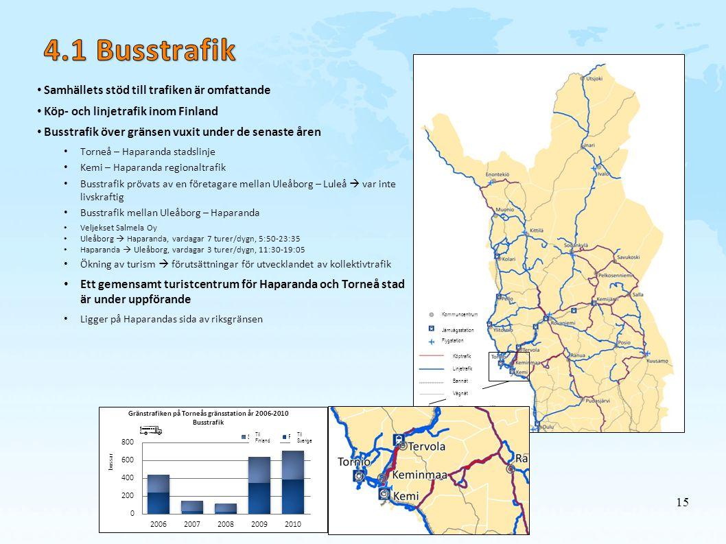 4.1 Busstrafik Samhällets stöd till trafiken är omfattande