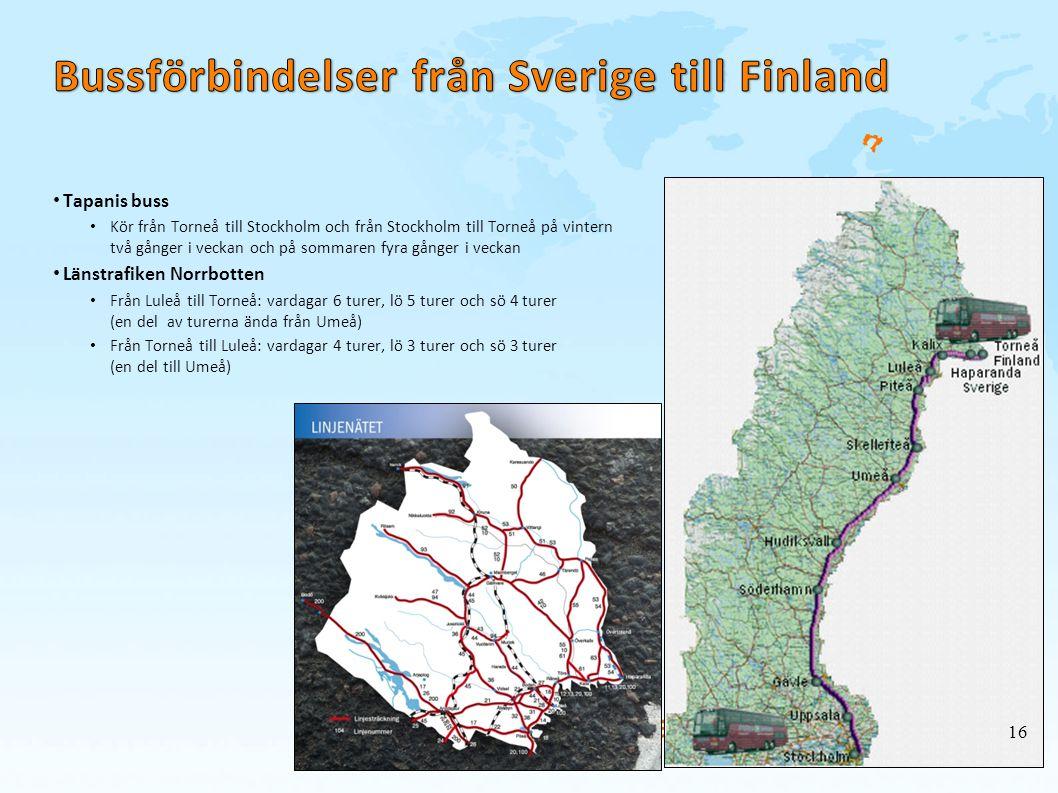 Bussförbindelser från Sverige till Finland