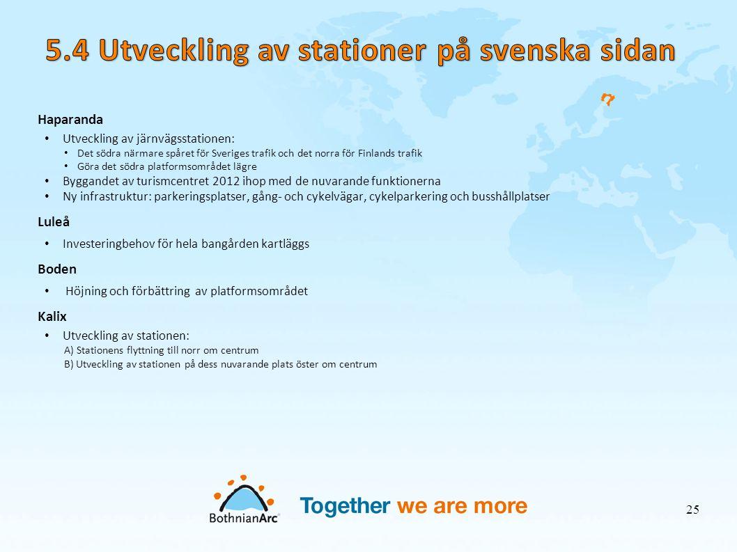 5.4 Utveckling av stationer på svenska sidan