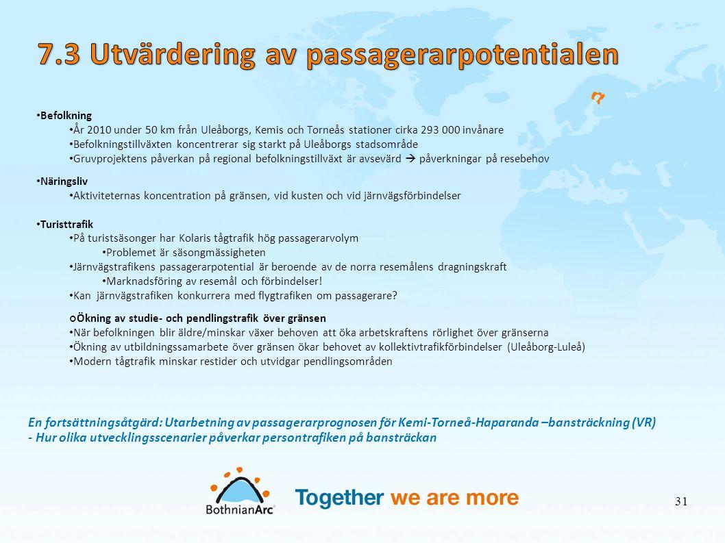 7.3 Utvärdering av passagerarpotentialen