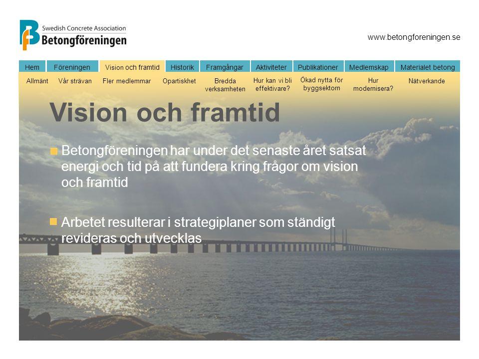 Vision och framtid Betongföreningen har under det senaste året satsat energi och tid på att fundera kring frågor om vision och framtid.