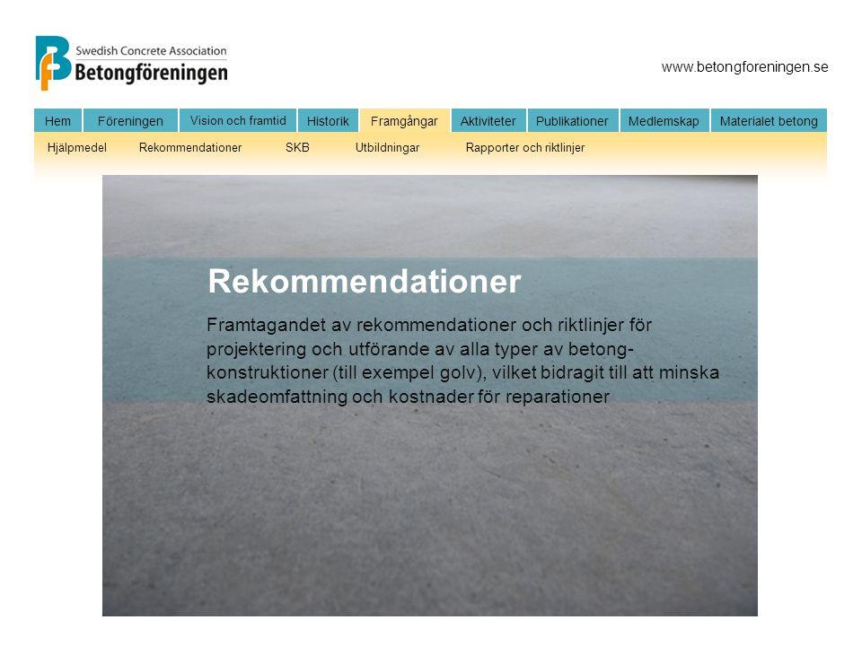 Rekommendationer Framtagandet av rekommendationer och riktlinjer för