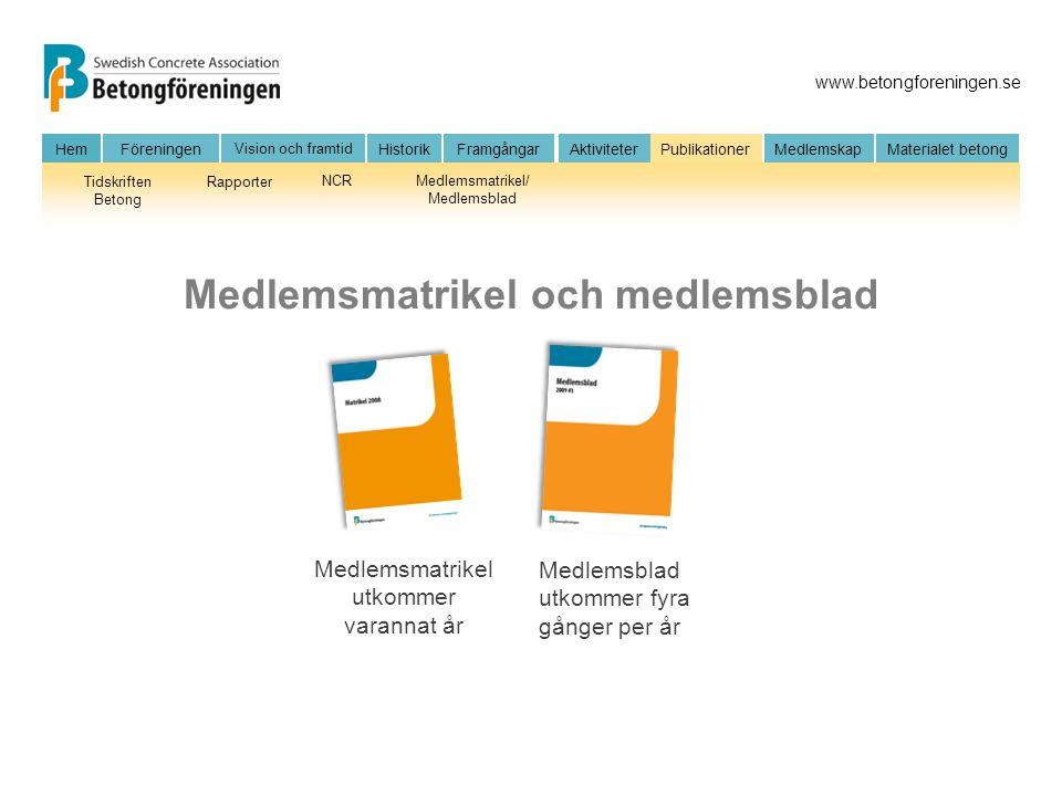 Medlemsmatrikel och medlemsblad