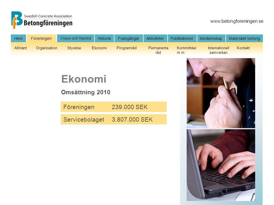 Ekonomi Omsättning 2010 Föreningen 239.000 SEK